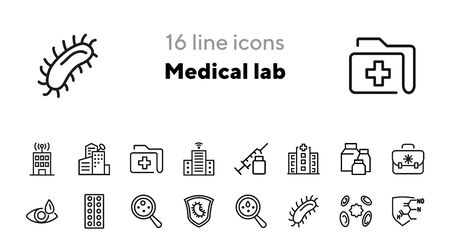 Medical lab line icon set. Hospital building, test, examination, bacteria, virus. Medicine concept. Can be used for topics like laboratory, research, epidemic
