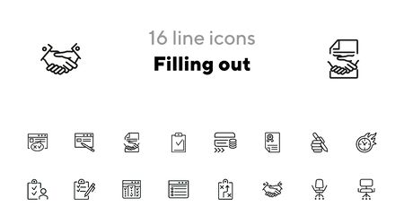Filling out line icon set. Survey, credit card, handshake. Business concept. Can be used for topics like banking, loan, paperwork, office Фото со стока - 140618056