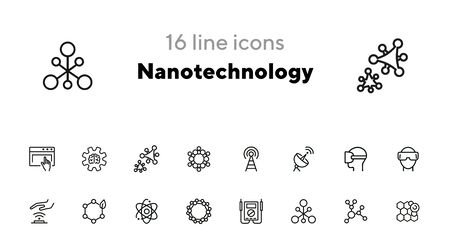 Nanotechnology line icon set. Radar satellite, VR headset, organic molecule. Modern technology concept. Can be used for topics like physics, chemistry, virtual reality