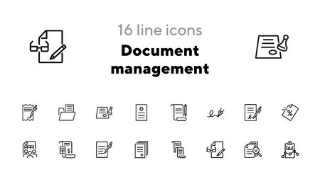 Document management line icon set. Signature, contract, invoice. Paperwork concept. Can be used for topics like business, agreement, accounting