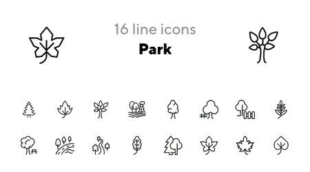 Park line icon set. Leaf, tree, oak, forest. Nature concept. Can be used for topics like countryside, hiking, ecology