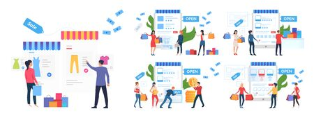 Online store rate set. Consumers buying goods online, giving feedback. Flat vector illustrations. Customer feedback concept for banner, website design or landing web page
