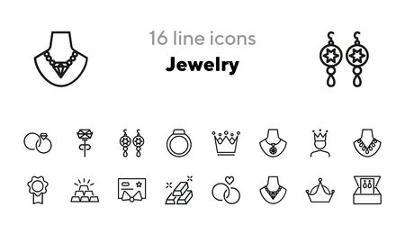 Jewelry line icon set. Necklace, chain, gem, rings, pendant, crown. Jewel concept. Can be used for topics like fashion, accessory, luxury 일러스트