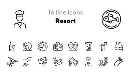 Resort line icon set. Rafting, kayaking, map, itinerary, restaurant. Vacation concept. Can be used for topics like sport water activities, adventure tourism, leisure Vectores