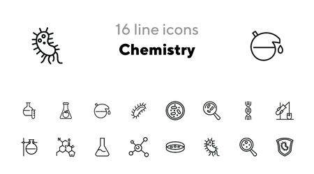 Chemistry line icon set. Set of line icons on white background. Science concept. Bacteria, formula, equipment. Vector illustration can be used for topics like laboratory, investigation, experiment Stock Illustratie
