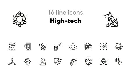 High-tech line icon set. Molecule model, AR projection, artificial satellite. Modern technology concept. Can be used for topics like augment reality, VR devices, 3D designing