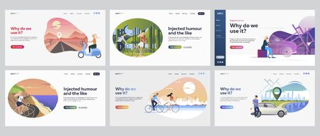 Travelling people set. Men and women riding scooter, bike, driving car. Flat vector illustrations. Trip, road, vacation concept for banner, website design or landing web page Vectores
