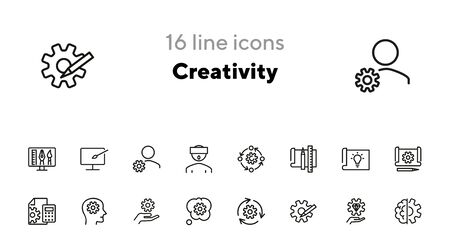 Creativity line icon set. Set of line icons on white background. Brainstorm concept. Idea, head, cogwheel. Vector illustration can be used for topics like innovation, development, business