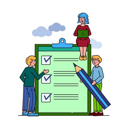 Business people standing at clipboard with checklist flat vector illustration. Filling check boxes with marks by pencil. Online survey, scheduling and voting concept. Stock Illustratie