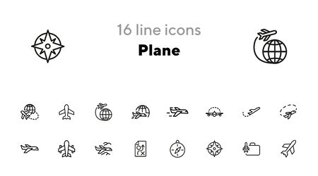 Plane line icon set. Jet, aircraft, flight. Travel concept. Can be used for topics like transport, trip, journey Vectores