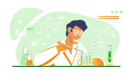 Chemist working in lab. Scientist using test tubes flat vector illustration. Chemical experiment, laboratory concept for banner, website design or landing web page