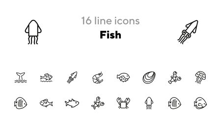 Fish line icon set. Set of line icons on white background. Maritime concept. Shell, turtle, fish, whale. Vector illustration can be used for topics like sea, ocean