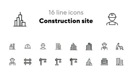 Construction site line icon set. Building, worker in helmet, crane. Construction concept. Can be used for topics like real estate development, work, housebuilding, property