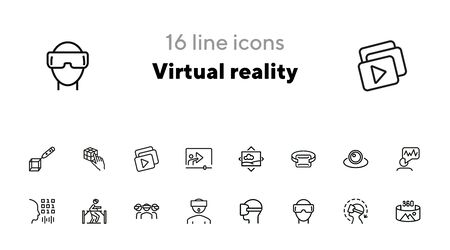 Virtual reality line icon set.Virtual reality glasses, programming, vr game. Technology concept.Vector illustration can be used for topics like progress, technology, entertainment Ilustracja