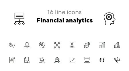 Financial analytics line icon set. Idea, bitcoin, graph, report. Business concept. Can be used for topics like finance, startup, planning