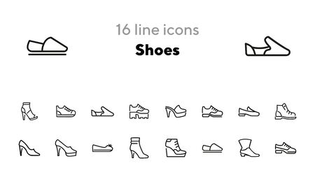 Shoes line icon set. Set of line icons on white background. Cowboy boot, espadrille, high heel shoes. Fashion concept. Vector illustration can be used for topics like clothing, fashion, shoes