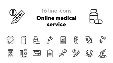 Online medical service line icon set. Drug, syrup, consulting pediatrician. Medicine concept. Can be used for topics like suffering from pain, treatment, cure, disease Ilustração