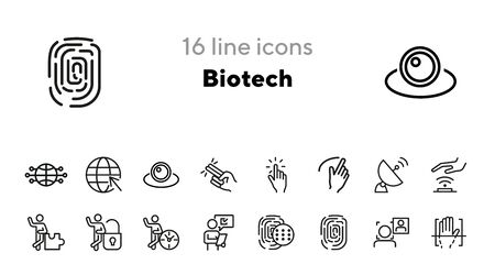 Biotech line icon set. Biometric scanning, face recognition, fingerprint. Technology concept. Can be used for topics like communication, AI, security