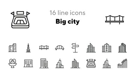 Big city line icon set. Building, skyscraper, district. Construction concept. Can be used for topics like urban life, architecture, downtown