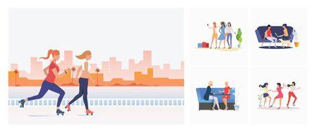 Set of female friends spending time together. Flat vector illustrations of women enjoying themselves. Women friendship concept for banner, website design or landing web page Ilustración de vector