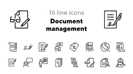 Document management line icon set. Paper, agreement, signature, people. Business concept. Can be used for topics like paperwork, finance, analysis