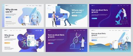 Medical research set. Doctors working in lab with microscope, charts, graphs. Flat vector illustrations. Medicine, test, science concept for banner, website design or landing web page Stock Illustratie