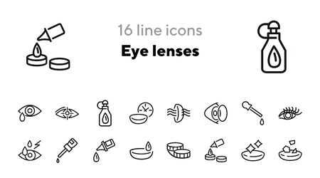 Eye lenses line icon set. Solution, container, eye drop. Eyes care concept. Can be used for topics like sight, vision, healthcare