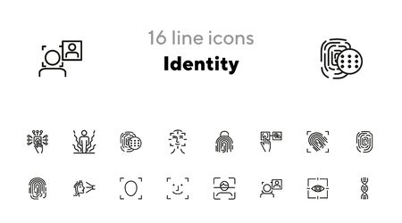 Identity line icon set. Fingerprint, face ID, scanner, scanning. Identity concept. Can be used for topics like security, biometrics, recognition