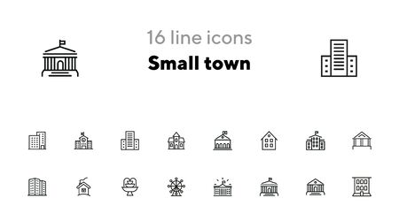 Small town line icon set. School, apartment building, house. Architecture concept. Vector illustration can be used for topics like building, town, construction