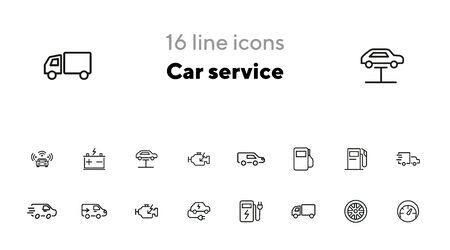 Car service line icon set. Filling station, electric car, wheel. Car concept. Can be used for topics like garage, vehicle maintenance, biofuel Иллюстрация