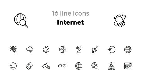 Internet line icon set. Globe, network, satellite. Connection concept. Can be used for topics like communication, broadcasting, modern technology