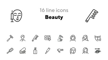 Beauty icons. Set of line icons on white background. Electric fan, perfume, meso therapy. Cosmetology concept. Vector illustration can be used for topics like cosmetics, beauty salon Ilustracja