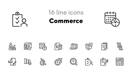 Commerce line icon set. Fax machine, clock in fire, documents. Business concept. Can be used for topics like time management, planning, banking Stock Illustratie