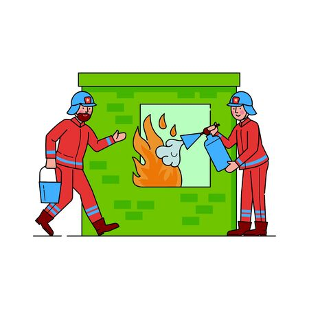 Firefighters extinguishing flame through window. Firemen watering ignition flat vector illustration. Firefighting emergency service concept. Professional aid from people in uniform doing job Иллюстрация