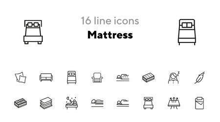 Mattress icon set. Line icons collection on white background. Customer, bed, comfort. Orthopedic furniture concept. Can be used for topics like bedroom, sleep, guarantee  イラスト・ベクター素材