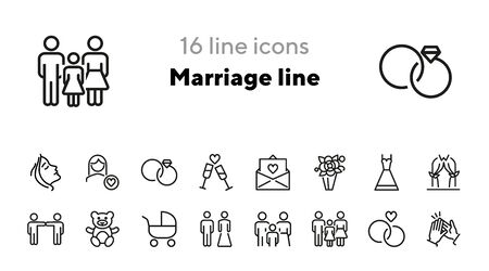 Marriage line icons. Set of line icons. Clapping hands, family, teddy bear. Marriage concept. Vector illustration can be used for topics like family, wedding Standard-Bild - 140617511
