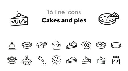 Cakes and pies line icon set. Birthday cake, slice, cookie, pancake. Food concept. Can be used for topics like dessert, confection, bakery, party Standard-Bild - 140617530