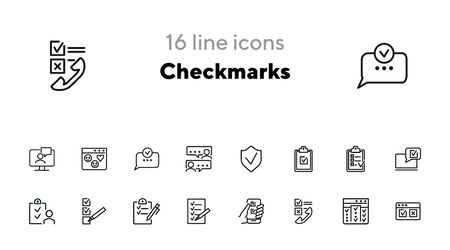 Checkmarks line icon set. Ticks, list, clipboard. Survey concept. Can be used for topics like customer feedback, exam, checklist Stock Illustratie