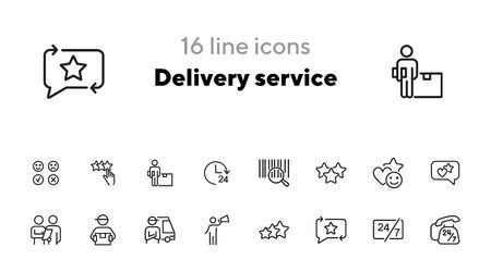 Icône du service de livraison. Ensemble d'icônes de ligne sur fond blanc. Courrier, évaluation, code à barres. Concept d'achat en ligne. L'illustration vectorielle peut être utilisée pour des sujets tels que le shopping, le service, les affaires, Internet