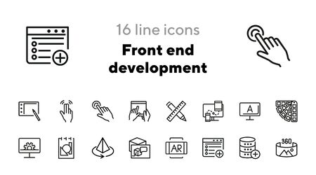 Front end development line icon set. Software, design, interface. Creativity concept. Can be used for topics like technology, education, occupation