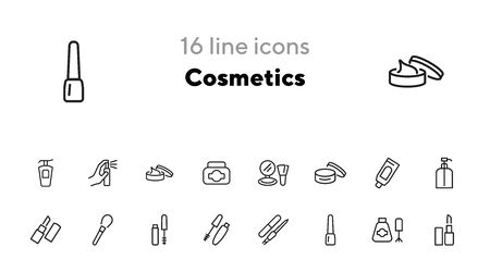 Cosmetics icon. Set of line icons on white background. Lipstick, powder, mascara. Makeup concept. Vector illustration can be used for topics like beauty product, beauty salon, service