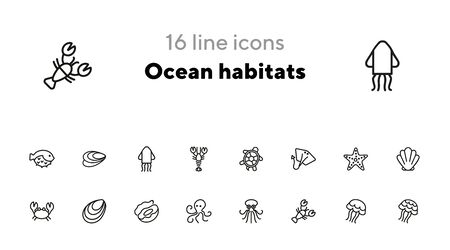 Ocean habitats icon set. Seaanimal concept. Vector illustration can be used for topics like seafood, cuisine, cooking