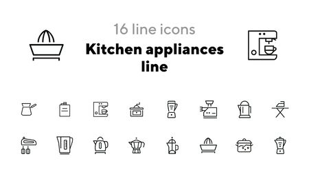 Kitchen appliances line icons. Set of line icons on white background. Inhouse concept. Kettle, teapot, mixer. Vector illustration can be used for appliances, service, house