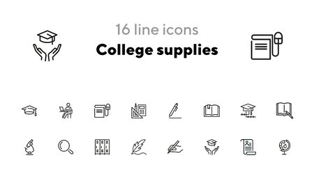 College supplies line icon set. Pen, graduation cap, cabin. Education concept. Can be used for topics like university, school, training Ilustracja