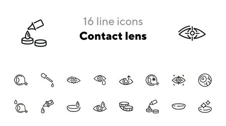 Contact lens icons. Contact solution, eye drops, eyeball. Eyesight correction concept. Vector illustration can be used for topics like healthcare, eyesight, ophthalmology Vectores