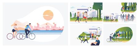 Set of summer activities illustrations. Flat vector illustrations of girls and women roller skating in city. Active lifestyle, activity, summer concept for banner, website design or landing web page