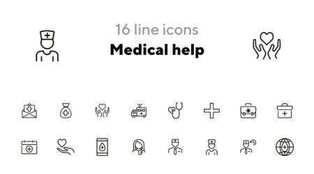 Medical help icon set. Hospital concept. Vector illustration can be used for topics like apothecary, hospital, drug company