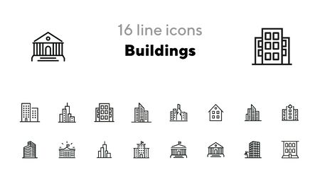 Buildings icons. Set of line icons on white background. Hospital, town house, museum, hotel. City concept. Vector illustration can be used for topics like urban life, architecture, construction Ilustração