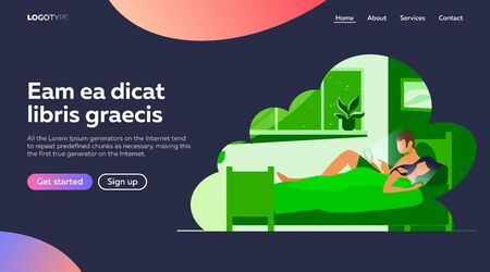 Couple lying in bed and using mobile phones. Gadget and internet addicted users flat vector illustration. Addiction, unhealthy habit, sleepless concept for banner, website design or landing web page Vettoriali