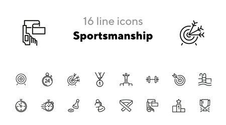 Jeu d'icônes de ligne d'esprit sportif. Piscine, vainqueur, baril de poids. Notion sportive. Peut être utilisé pour des sujets tels que la forme physique, le leadership, un mode de vie sain